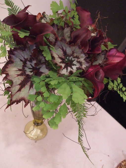 Bouquet with Maidenhair Fern, Calla Lilies, and Begonia