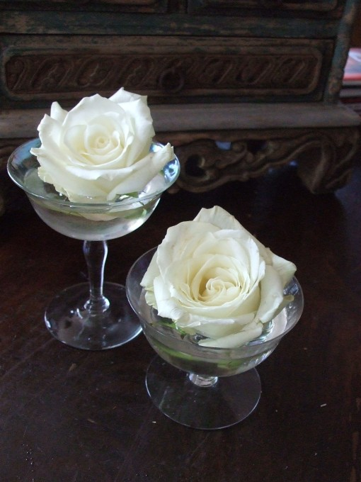 Antique Champagne Glasses as Bud Vases
