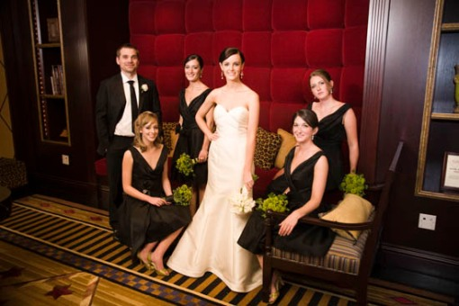 Bride and Groom with Bridesmaids. Photo by Phil Seaton of Living Photo.