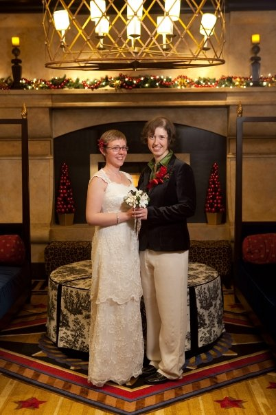 Bride and Bride at the Hotel Marlowe Lounge. Photo by Matt Hakola.