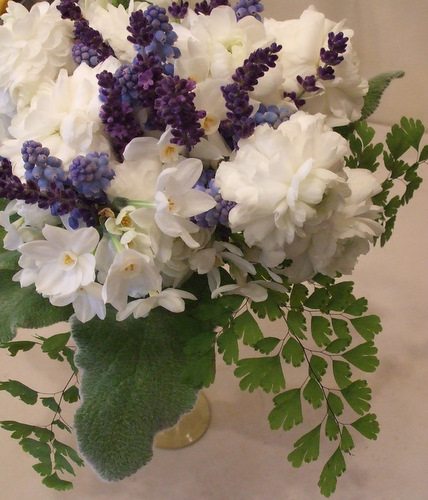 Springtime Bouquet with Narcissus, Lavender, and Grape Hyacinth