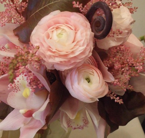 Bouquet with pale pinks and burgundy-brown