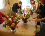 Our flower students arranging