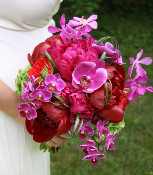 Bridal Bouquet by Petalena with Phalenopsis Orchids & Peonies