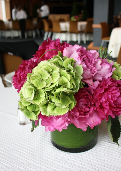 Magenta and Green Table Arrangement