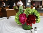 Red, Magenta, and Green Table Arrangement