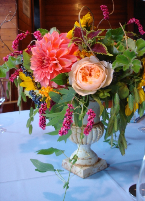 Salmon-Hued Table Centerpiece at the Hill-Stead Museum
